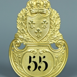 PLAQUE DE SHAKO D'OFFICIER MODELE 1821 - RESTAURATION