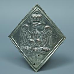 PLAQUE DE SHAKO D'OFFICER DE CHASSEUR A CHEVAL DU 1er REGIMENT DE LIGNE - MODELE 1806 / 1810