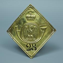 PLAQUE DE SHAKO DE VOLTIGEUR DU 28ème REGIMENT DE LIGNE - MODELE 1806 / 1810