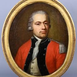 PEINTURE D'UN OFFICIER DU REGIMENT SUISSE D'ERLARCH AU SERVICE DE FRANCE VERS 1772-1773 OU 1776 ANCIEN REGIME