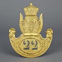 PLAQUE DE SHAKO D'OFFICIER DE LA 22éme LEGION DEPARTEMENTALE MODELE 1814 RESTAURATION