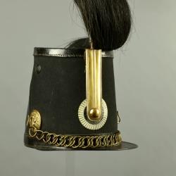 SHAKO DE TROUPE DE CHASSEURS A CHEVAL MODELE 1845 DU CANTON DE BÂLE-VILLE