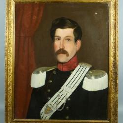 PEINTURE A L'HUILE SUR TOILE D'UN CAPITAINE DE CAVALERIE DE LA MAISON DE SAVOIE VERS 1845